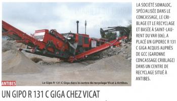 Antibes : un GIPO 131 C GIGA livré par Garonne Concassage Criblage chez Vicat - Article Terrassements et Carrières (Mai 2016)