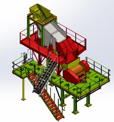 Projet bureau d'études - schéma poste de broyage, concassage - installation fixe sur mesure - carrière, sablière, tri, recyclage