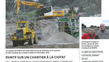 RVMTP sur un chantier à la Ciotat - Article Terrassements et Carrières (Septembre 2016)