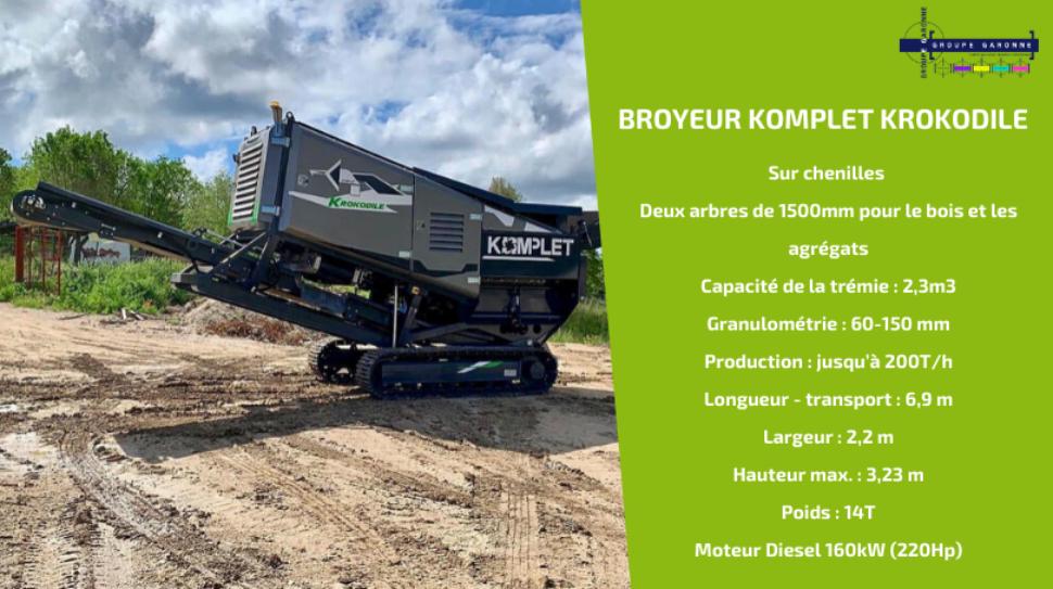 Zoom sur le KOMPLET KROKODILE, nouveau broyeur à bois et agrégats pour le broyage et le recyclage de bois, béton et déchets de construction et démolition