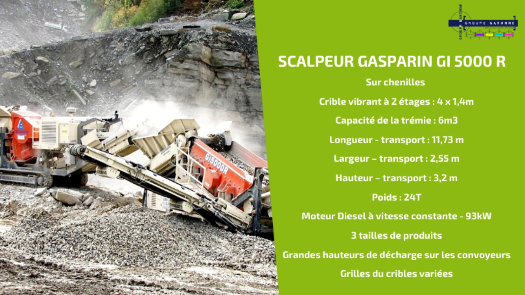 Zoom sur le GI 5000 R GASPARIN, crible scalpeur deux étages sur chenilles à système de recomposition pour la séparation en 3 produits, le traitement et le recyclage de sable, terre, agrégats, gravier, déchets de construction et démolition