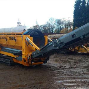 Crible trommel de chantier, recyclage tri déchets de carrière, construction démolition, terre, compost, bois, trommel sur chenilles ou sur roues ANACONDA TD516R