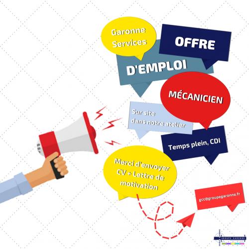 Offre d'emploi Mécanicien Matériel, Engins de chantiers Travaux Publics, Mines, Carrières - Haute-Garonne - Garonne Services